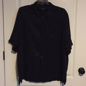 Murano Black Silk SS Dress Shirt